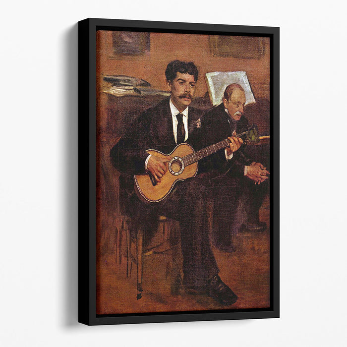 The guitarist Pagans and Monsieur Degas by Degas Floating Framed Canvas