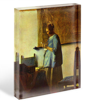 The letter reader by Vermeer Acrylic Block - Canvas Art Rocks - 1
