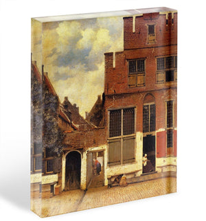 The little street by Vermeer Acrylic Block - Canvas Art Rocks - 1