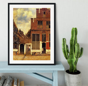 The little street by Vermeer Framed Print - Canvas Art Rocks - 1