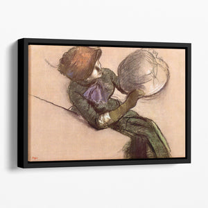 The milliner 2 by Degas Floating Framed Canvas