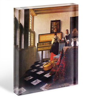 The music lesson by Vermeer Acrylic Block - Canvas Art Rocks - 1