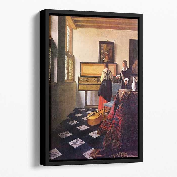 The music lesson by Vermeer Floating Framed Canvas