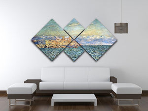 The old Fort in Antibes by Monet 4 Square Multi Panel Canvas - Canvas Art Rocks - 3