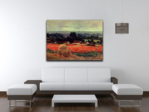 The poppy Blumenfeld The barn by Monet Canvas Print & Poster - Canvas Art Rocks - 4