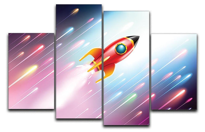 The rocket ship flying in the space 4 Split Panel Canvas