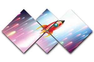 The rocket ship flying in the space 4 Square Multi Panel Canvas  - Canvas Art Rocks - 1