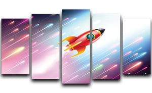 The rocket ship flying in the space 5 Split Panel Canvas  - Canvas Art Rocks - 1