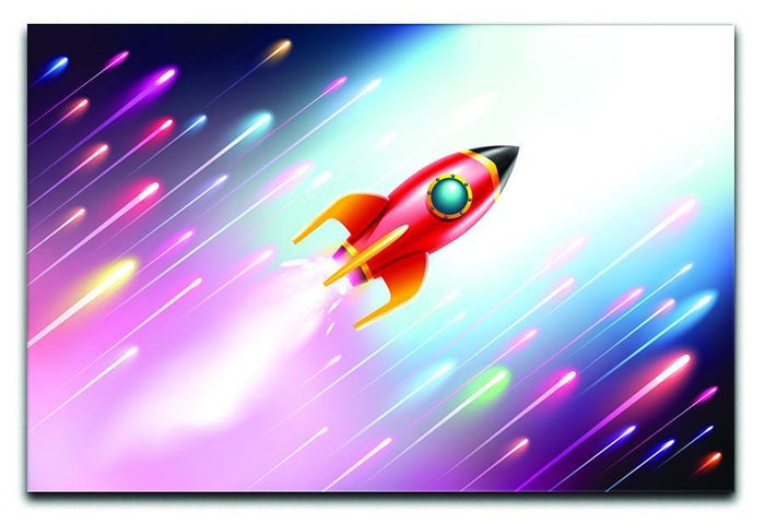 The rocket ship flying in the space Canvas Print or Poster