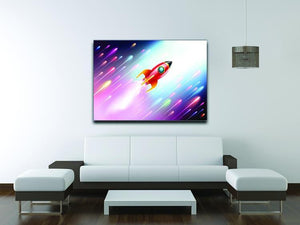The rocket ship flying in the space Canvas Print or Poster - Canvas Art Rocks - 4