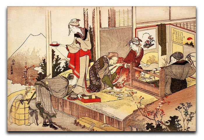 The studio of Netsuke by Hokusai Canvas Print or Poster