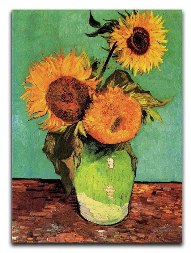 Three Sunflowers in a Vase by Van Gogh Canvas Print or Poster