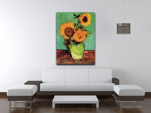 Three Sunflowers in a Vase by Van Gogh Canvas Print & Poster - Canvas Art Rocks - 4