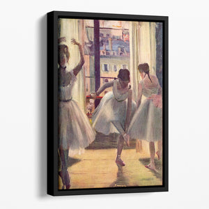 Three dancers in a practice room by Degas Floating Framed Canvas
