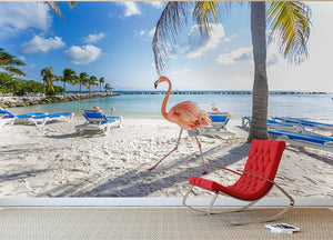 Three flamingos on the beach Wall Mural Wallpaper - Canvas Art Rocks - 2