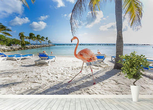 Three flamingos on the beach Wall Mural Wallpaper - Canvas Art Rocks - 4