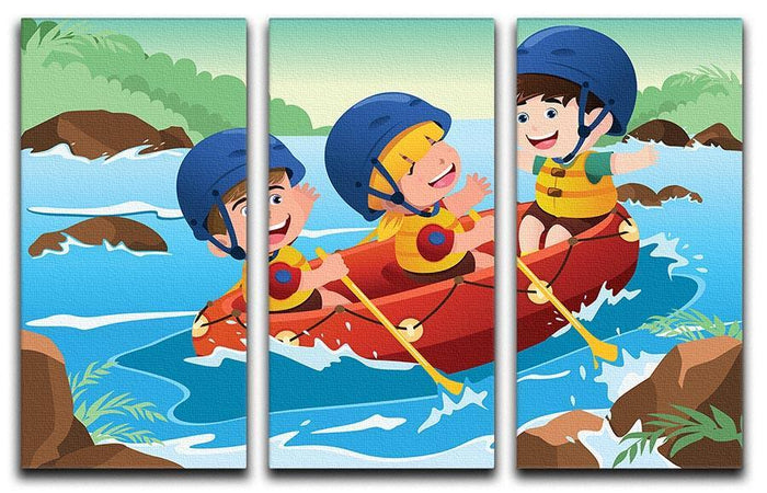 Three happy kids on boat 3 Split Panel Canvas Print