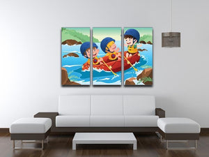 Three happy kids on boat 3 Split Panel Canvas Print - Canvas Art Rocks - 3