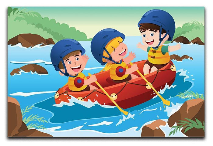 Three happy kids on boat Canvas Print or Poster