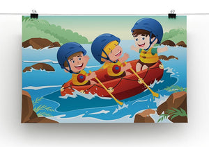 Three happy kids on boat Canvas Print or Poster - Canvas Art Rocks - 2