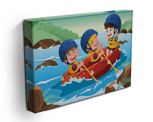 Three happy kids on boat Canvas Print or Poster - Canvas Art Rocks - 3