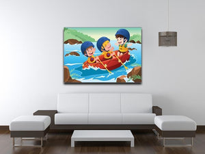 Three happy kids on boat Canvas Print or Poster - Canvas Art Rocks - 4