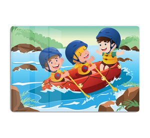 Three happy kids on boat HD Metal Print