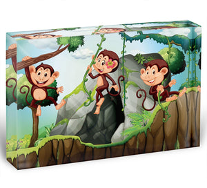 Three monkeys hanging on the branch Acrylic Block - Canvas Art Rocks - 1