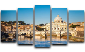 Tiber and St Peter s cathedral 5 Split Panel Canvas  - Canvas Art Rocks - 1