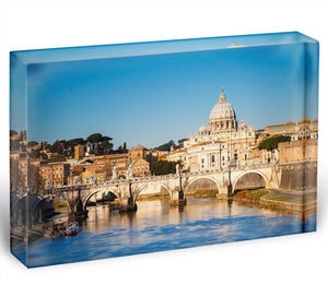 Tiber and St Peter s cathedral Acrylic Block - Canvas Art Rocks - 1