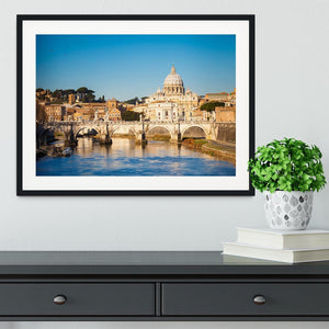 Tiber and St Peter s cathedral Framed Print - Canvas Art Rocks - 1