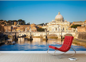 Tiber and St Peter s cathedral Wall Mural Wallpaper - Canvas Art Rocks - 2