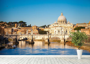 Tiber and St Peter s cathedral Wall Mural Wallpaper - Canvas Art Rocks - 4