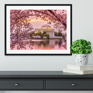 Tidal Basin and Jefferson Memorial cherry blossom season Framed Print - Canvas Art Rocks - 1