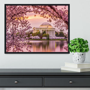 Tidal Basin and Jefferson Memorial cherry blossom season Framed Print - Canvas Art Rocks - 2