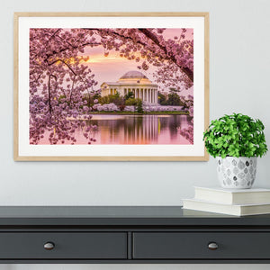 Tidal Basin and Jefferson Memorial cherry blossom season Framed Print - Canvas Art Rocks - 3