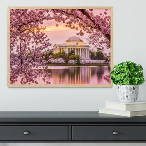 Tidal Basin and Jefferson Memorial cherry blossom season Framed Print - Canvas Art Rocks - 4