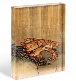 Tiger in the rain by Hokusai Acrylic Block - Canvas Art Rocks - 1