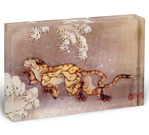 Tiger in the snow by Hokusai Acrylic Block - Canvas Art Rocks - 1