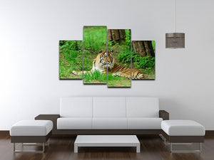 Tiger on the green grass 4 Split Panel Canvas - Canvas Art Rocks - 3