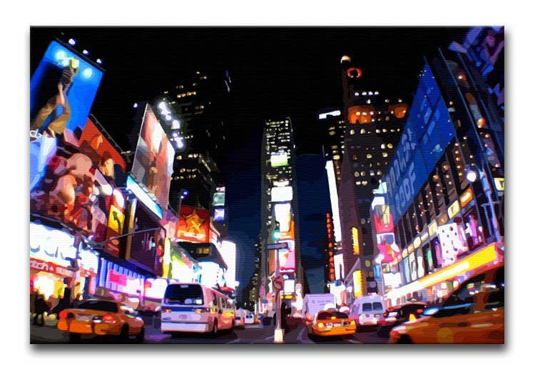 Times Square at Night Print - Canvas Art Rocks - 1