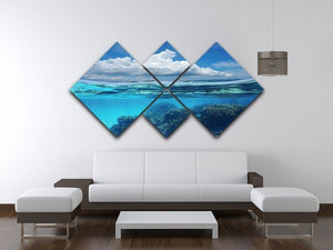 Top half with blue sky and cloud 4 Square Multi Panel Canvas  - Canvas Art Rocks - 3