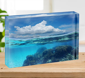 Top half with blue sky and cloud Acrylic Block - Canvas Art Rocks - 2