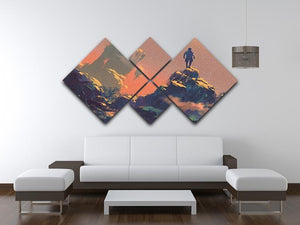 Top of the hill watching the stars 4 Square Multi Panel Canvas  - Canvas Art Rocks - 3