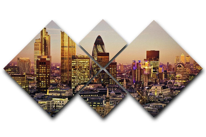Tower 42 Gherkin Willis Building Stock Exchange Tower 4 Square Multi Panel Canvas