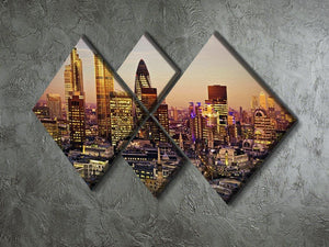 Tower 42 Gherkin Willis Building Stock Exchange Tower 4 Square Multi Panel Canvas  - Canvas Art Rocks - 2
