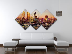 Tower 42 Gherkin Willis Building Stock Exchange Tower 4 Square Multi Panel Canvas  - Canvas Art Rocks - 3
