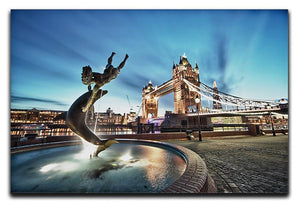 Tower Bridge and St Katharine Docks Girl Canvas Print or Poster  - Canvas Art Rocks - 1