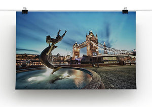 Tower Bridge and St Katharine Docks Girl Canvas Print or Poster - Canvas Art Rocks - 2