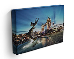 Tower Bridge and St Katharine Docks Girl Canvas Print or Poster - Canvas Art Rocks - 3